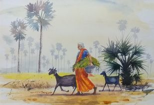 old woman with goats by Balakrishnan S, Impressionism Painting, Watercolor on Paper, Kangaroo color