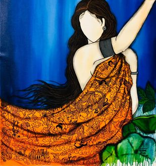 Dream by Mrinal Dutt, Expressionism Painting, Acrylic on Canvas, Big Foot Feet color
