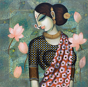 beauty with lotus by Varsha Kharatmal, Expressionism Painting, Acrylic & Graphite on Canvas, Corduroy color