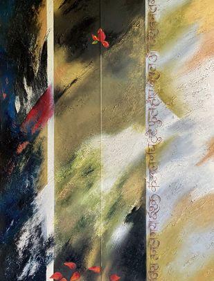 Zikr Zara Sa by Geeta Vadhera, Abstract Painting, Oil on Canvas, Mongoose color