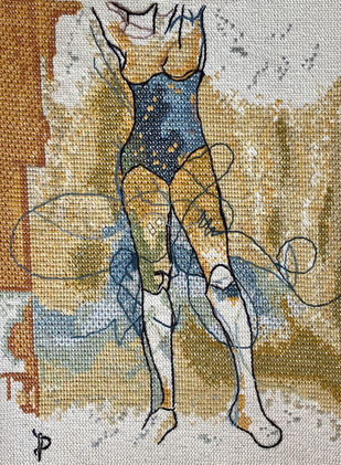 NUDE AESTHETICS PB/NA - 30 by Puja Bhakoo, Expressionism Textile, Stitching on Cloth , Hillary color