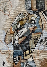 NUDE AESTHETICS PB/NA - 31 by Puja Bhakoo, Expressionism Textile, Stitching on Cloth , Bronco color