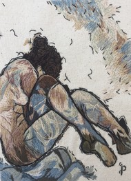 NUDE AESTHETICS PB/NA - 19 by Puja Bhakoo, Expressionism Textile, Stitching on Cloth , Cloud color