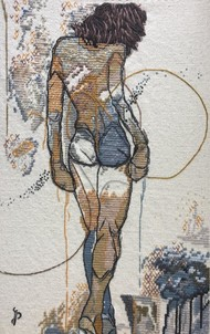 NUDE AESTHETICS PB/NA - 20 by Puja Bhakoo, Expressionism Textile, Stitching on Cloth , Cloud color