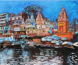 Dasashwamedh ghat by Mamta Malhotra, Expressionism Painting, Acrylic on Canvas, Rodeo Dust color