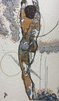NUDE AESTHETICS PB/NA - 21 by Puja Bhakoo, Expressionism Textile, Stitching on Cloth , Cloud color