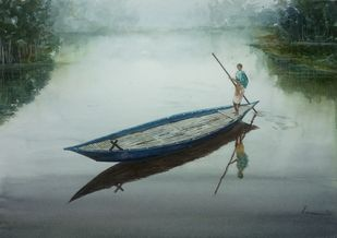 Fishing Canoes by Pravin, Impressionism Painting, Watercolor on Paper, Edward color