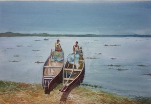 Fishing Canoes by Pravin, Impressionism Painting, Watercolor on Paper, Regent Gray color