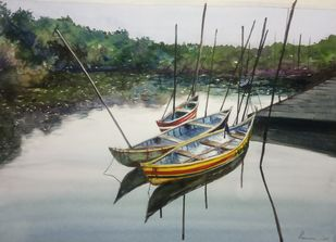 Fishing Canoes by Pravin, Impressionism Painting, Watercolor on Paper, Pumice color