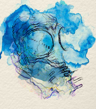 The Ancient and The Timeless by Gopal Mehan, Abstract Painting, Mixed Media on Paper, Moon Mist color