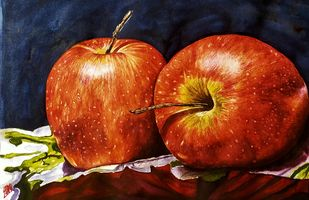 Red Apples by Sabari Girish T, Realism Painting, Watercolor on Paper, Cocoa Brown color