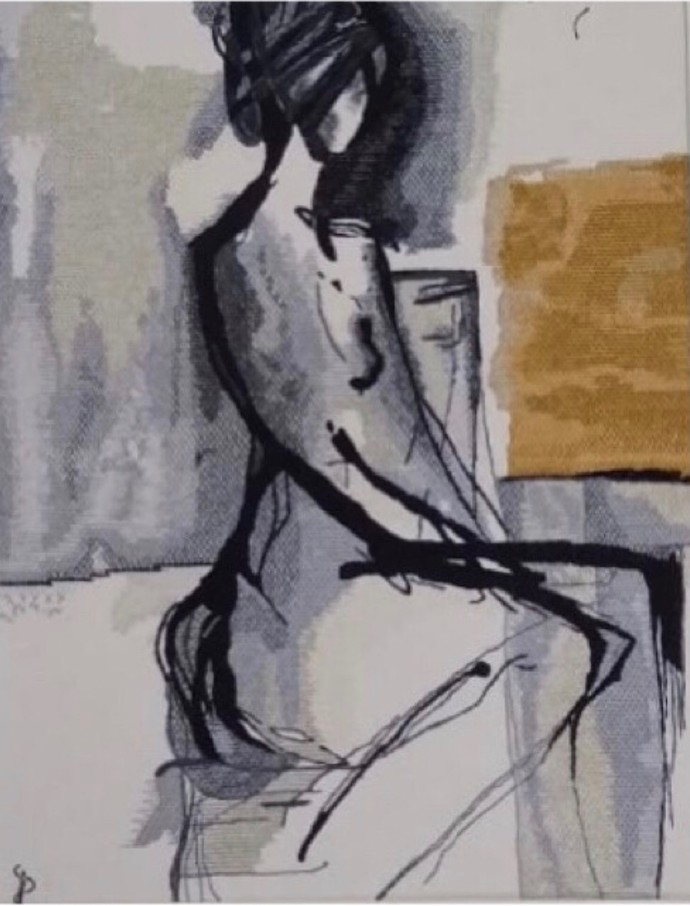 NUDE AESTHETICS PB/NA - 12 by Puja Bhakoo, Expressionism Textile, Stitching on Cloth , Dusty Gray color