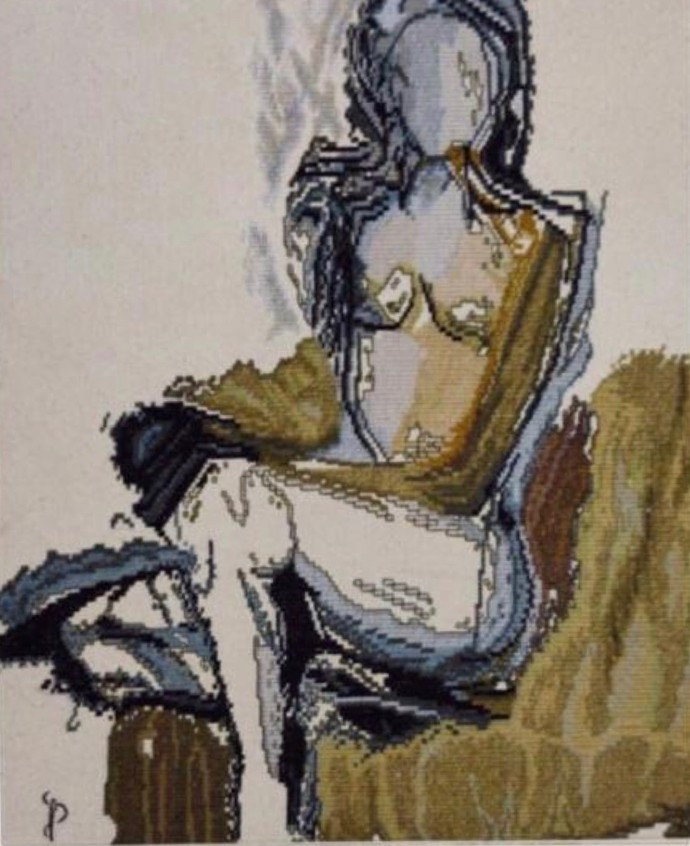 NUDE AESTHETICS PB/NA - 02 by Puja Bhakoo, Expressionism Textile, Stitching on Cloth , Silk color