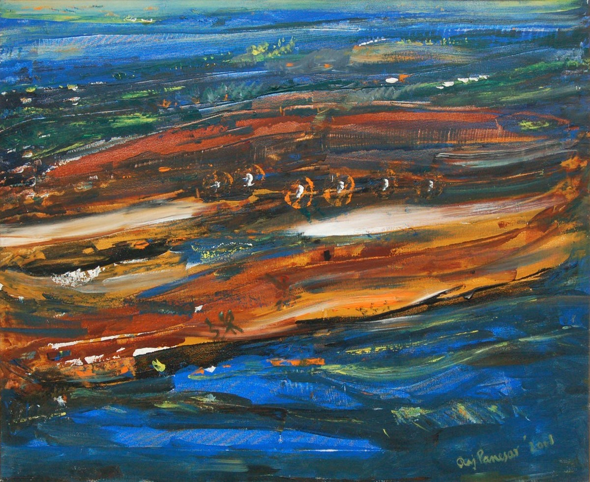 Environment by B R Panesar, Abstract Painting, Oil on Canvas, Outer Space color