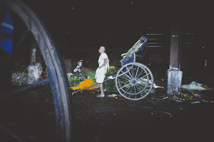 Rickshaw Puller by Anirban Ghosh, Image Photography, Print on Paper, Mine Shaft color