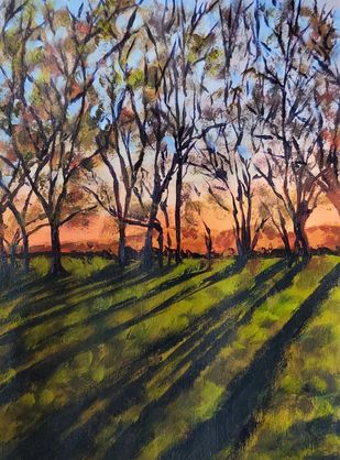 landscape on sundet by Ankita Chauhan, Expressionism Painting, Acrylic on Paper, Armadillo color