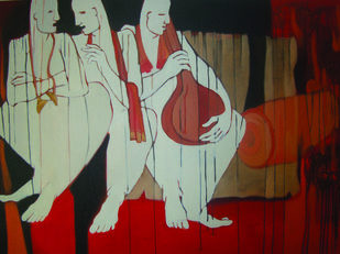 Rest 1 by SAMEER DIXIT, Expressionism Painting, Acrylic on Canvas, Licorice color