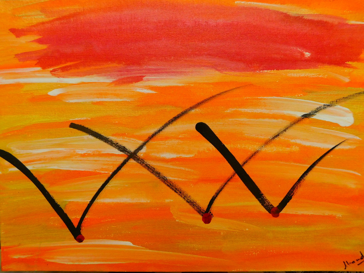 SAT CHIT ANANDA by Chandra Tatvaraj, Abstract Painting, Acrylic & Graphite on Canvas, Meteor color