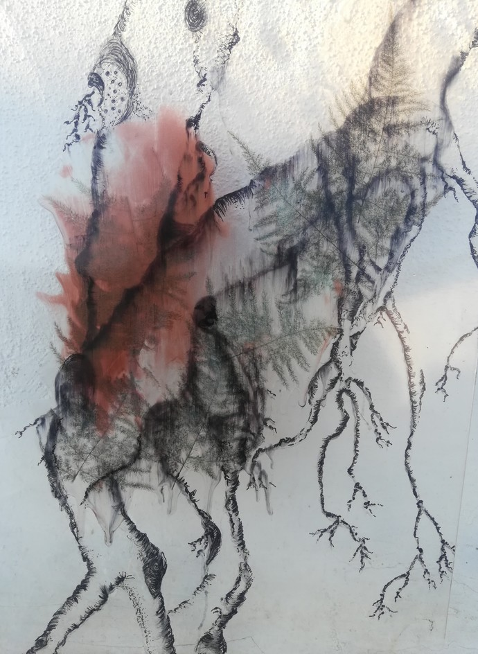 Root series by Roopa Kangovi, Abstract Drawing, Acrylic on Acrylic Sheet, Silver Sand color