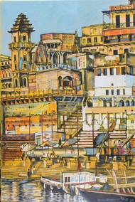 Darbhanga Ghat by Mamta Malhotra, Expressionism Painting, Oil on Canvas, Limed Oak color