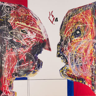 Battle of the minds by Anuj Madan, Expressionism Painting, Acrylic & Ink on Canvas, Dust Storm color