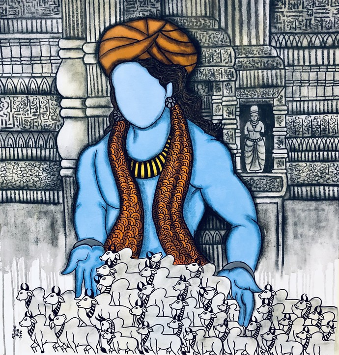 Bal gopalaya by Mrinal Dutt, Expressionism Painting, Mixed Media on Canvas, Ebony Clay color