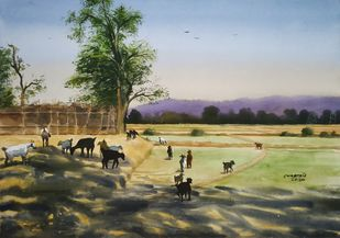 'Village Beauty' by Niketan Bhalerao, Illustration Painting, Watercolor on Paper, Eagle color