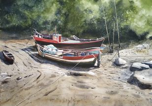 'Resting Boat's' by Niketan Bhalerao, Impressionism Painting, Watercolor on Paper, Delta color