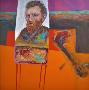 PORTRAIT OF VAN-GOGH by YOGESH KUMAR, Expressionism Painting, Mixed Media on Canvas, Orange Roughy color
