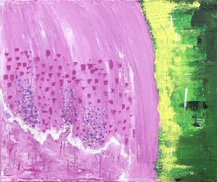 Imagination v/s Reality by Swati Goel, Abstract Painting, Acrylic on Canvas, Light Orchid color