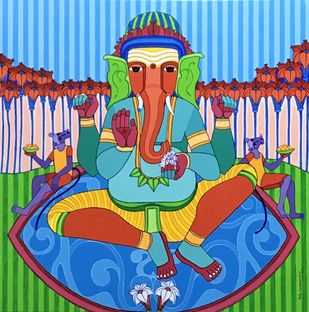GANESHA by Thota Laxminarayana, Traditional Painting, Acrylic on Canvas, Copper color