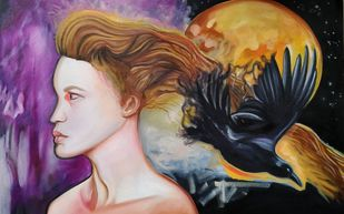 Transformation by Veronika Primas, Expressionism Painting, Oil on Canvas, Quicksand color