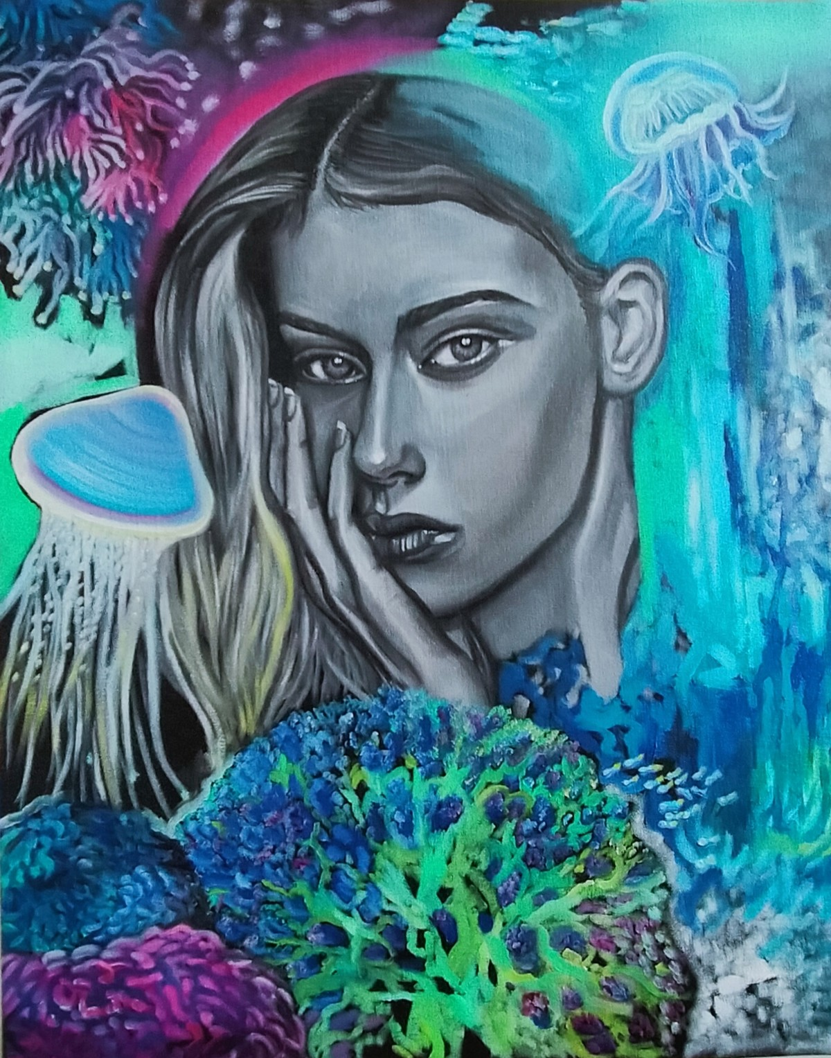 The Muse by Veronika Primas, Expressionism Painting, Oil & Acrylic on Board, Bismark color