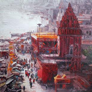 Varanasi_01 by Iruvan Karunakaran, Expressionism Painting, Acrylic on Canvas, Ferra color