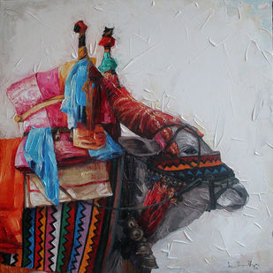 Gangireddu 08 by Iruvan Karunakaran, Impressionism Painting, Acrylic on Canvas, Shark color
