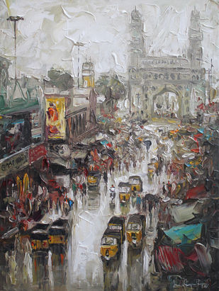 Charminar Wet St_01 by Iruvan Karunakaran, Impressionism Painting, Acrylic on Canvas, Nobel color