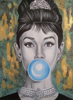 Diva by Veronika Primas, Pop Art Painting, Acrylic on Board, Kokoda color