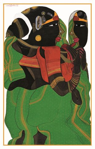 untitled by Thota Vaikuntam, Expressionism Painting, Serigraph on Paper, Cameo color