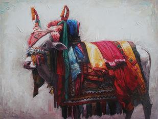 Gangireddu 09 by Iruvan Karunakaran, Impressionism Painting, Acrylic on Canvas, Thunder color