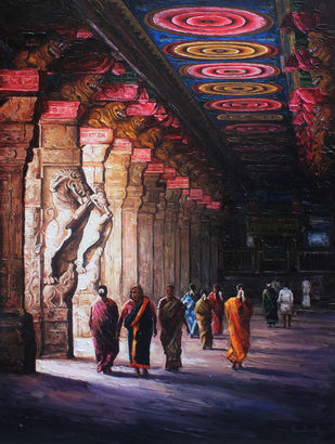 Inside Meenakshi Amman Temple by Iruvan Karunakaran, Impressionism Painting, Acrylic on Canvas, Oriental Pink color