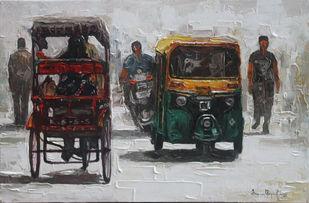 India Transits_03 by Iruvan Karunakaran, Impressionism Painting, Acrylic on Canvas, Dune color