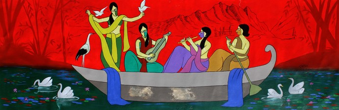 Beautous by Chetan Katigar, Expressionism Painting, Acrylic on Canvas, Blue Dianne color