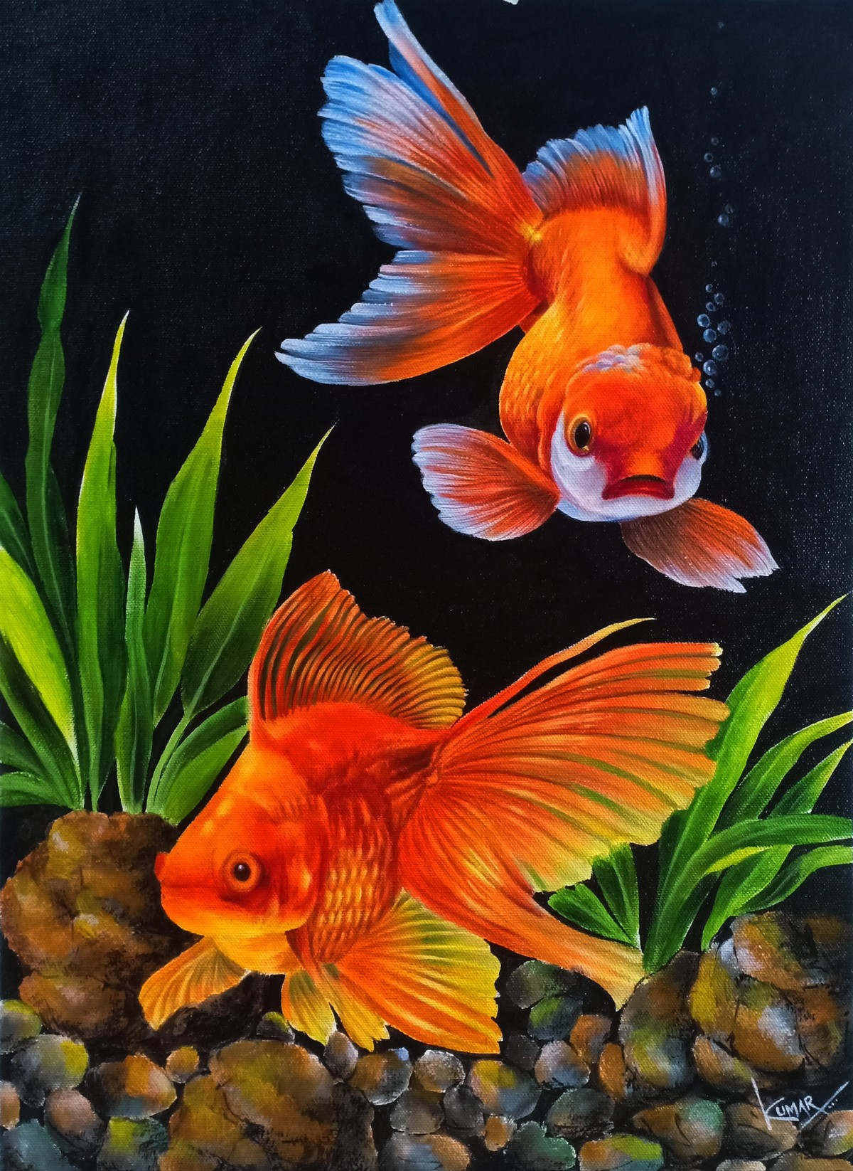 Gold fish by Kumar Ranadive, Photorealism Painting, Acrylic on Canvas, Heavy Metal color