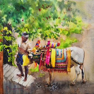 Gangireddu with Master by Jeyaprakash M, Impressionism Painting, Watercolor on Paper, Avocado color