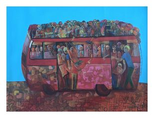 Life on wheels-l by Madhuri Jain, Expressionism Painting, Acrylic on Canvas, Eggplant color