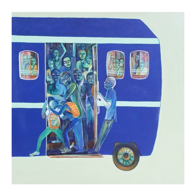 Life on wheels by Madhuri Jain, Expressionism Painting, Acrylic on Canvas, Azure color