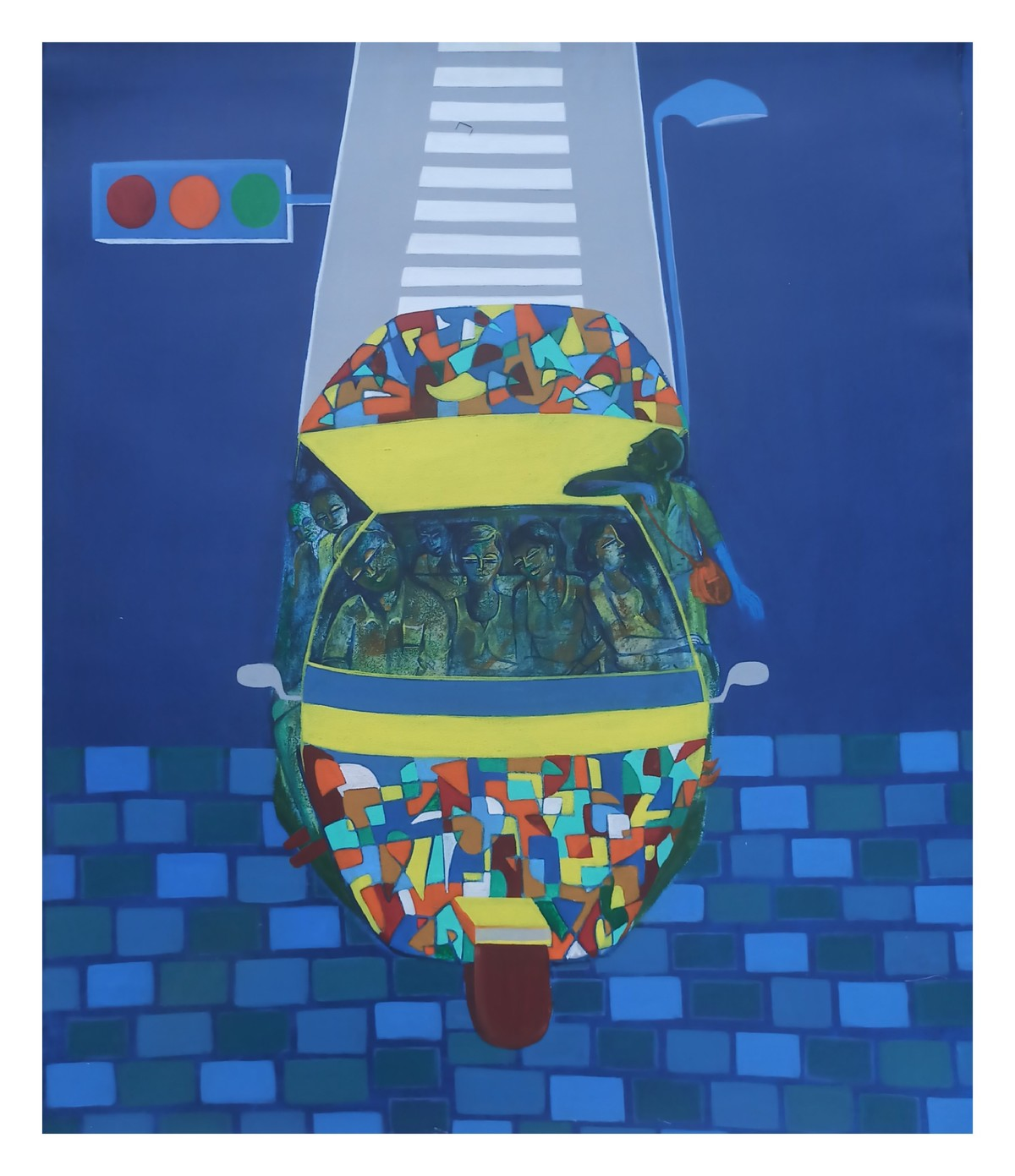 Life on wheels-ll by Madhuri Jain, Conceptual Painting, Acrylic on Canvas, Bdazzled Blue color