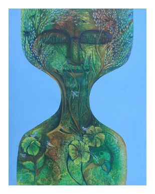Human with nature by Madhuri Jain, Conceptual Painting, Acrylic on Canvas, William color