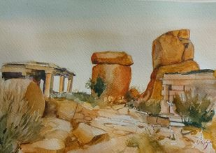 Hampi by Sirish M N, Impressionism Painting, Watercolor on Paper, Tallow color