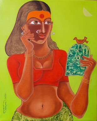 Village girl with Mirror by Ramana Peram , Expressionism Painting, Acrylic on Canvas, Atlantis color
